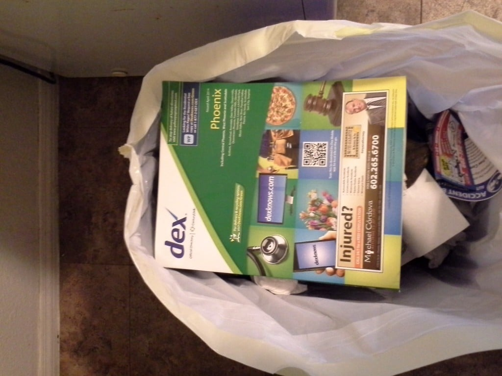 Yellow Pages in the garbage