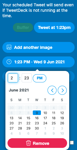Easily schedule out tweets to go in the future.