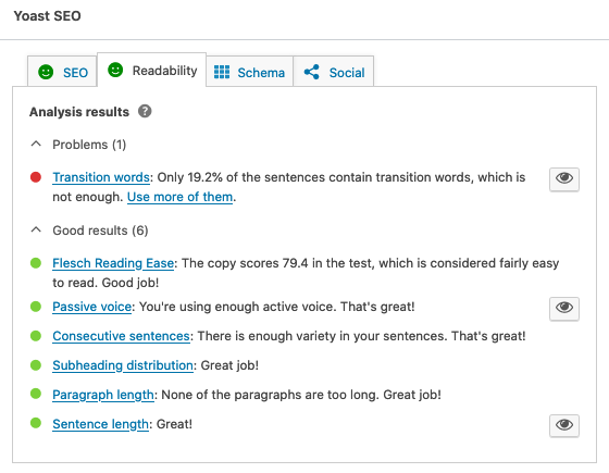 Make sure your readability is green to be a better blogger.