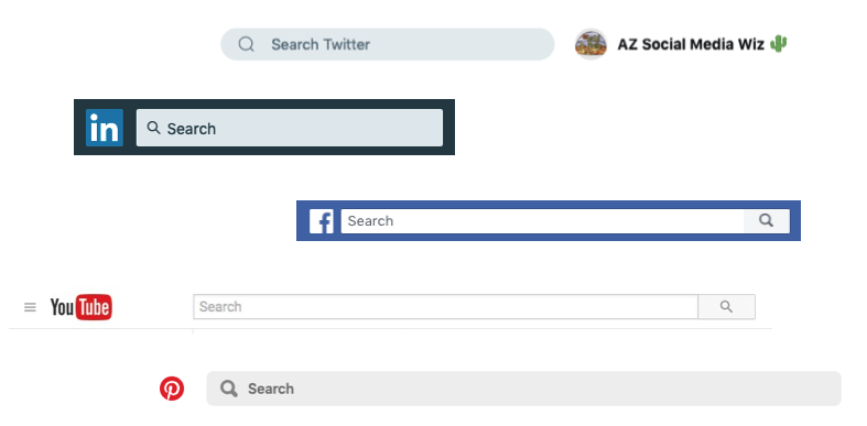 Search functions in the social media networks.