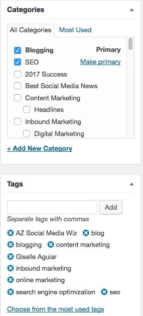 Categories and tags in WordPress